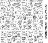 seamless pattern hand drawn... | Shutterstock .eps vector #501696622