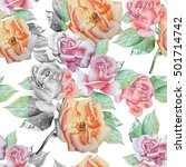 seamless pattern with roses.... | Shutterstock . vector #501714742