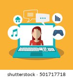 laptop woman bubbles and... | Shutterstock .eps vector #501717718