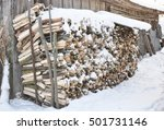 Firewood Snow. The Stack Of Th...