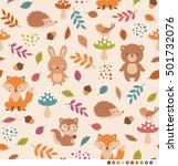 cute woodland animals pattern...   Shutterstock .eps vector #501732076
