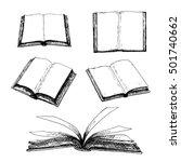 Hand Drawn Set Of Books. Retro...