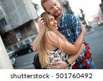 romantic couple in love hugging ... | Shutterstock . vector #501760492