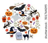 set of halloween icons in... | Shutterstock .eps vector #501764095
