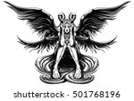 beautiful angel with the demon... | Shutterstock .eps vector #501768196