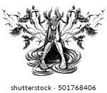 girl behind the ravens fly | Shutterstock .eps vector #501768406