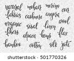 natural fibers types lettering... | Shutterstock .eps vector #501770326