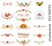 autumn set with turkey ... | Shutterstock .eps vector #501785992