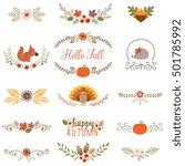 autumn set with turkey ... | Shutterstock .eps vector #501785992