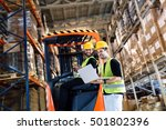 logistics people working in... | Shutterstock . vector #501802396