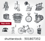 retro style set. movie camera ... | Shutterstock .eps vector #501807352