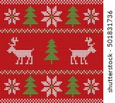 red knitted christmas sweater... | Shutterstock .eps vector #501831736