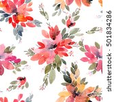watercolor painted flowers with ... | Shutterstock . vector #501834286