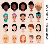 vector colorful avatar set of... | Shutterstock .eps vector #501835726