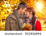 happy autumn fall couple... | Shutterstock . vector #501836896
