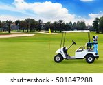 Golf Cart On Beautiful Golf...