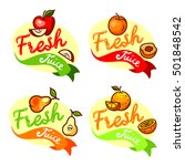 colorful fresh juice emblems... | Shutterstock .eps vector #501848542
