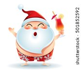 santa claus in swimsuit... | Shutterstock .eps vector #501852592