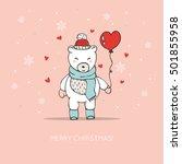 cute card with hand drawn polar ... | Shutterstock .eps vector #501855958