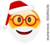 santa smile in glasses emoticon ...   Shutterstock .eps vector #501856156