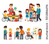 disability person vector flat... | Shutterstock .eps vector #501886696