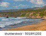 beach on coast of cyprus... | Shutterstock . vector #501891202