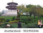 Small photo of On October 15, 2016 in xi 'an datang furong garden, chrysanthemum exhibition airtime, attracting tourists watch pictures. Xi 'an datang furong garden is a famous tourist scenic spot.
