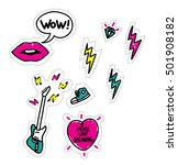 stickers set with lips  wow... | Shutterstock .eps vector #501908182