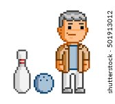vector pixel art man and... | Shutterstock .eps vector #501913012