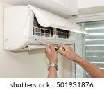 single electrician man clean ...   Shutterstock . vector #501931876