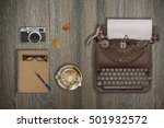 vintage typewriter  camera and... | Shutterstock . vector #501932572