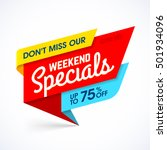 weekend specials sale banner ... | Shutterstock .eps vector #501934096