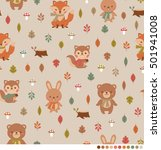 cute woodland animals seamless... | Shutterstock .eps vector #501941008