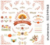 autumn and thanksgiving set... | Shutterstock .eps vector #501949468