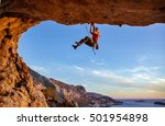 male climber on challenging... | Shutterstock . vector #501954898