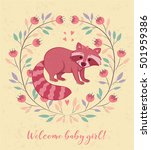 cute card with raccoon and... | Shutterstock .eps vector #501959386