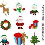 christmas icons deer reindeer... | Shutterstock . vector #501962152
