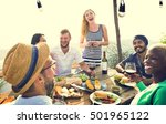 group of people dining concept | Shutterstock . vector #501965122