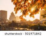 Autumn Sunset On The Backgroun...