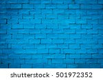 Detailed Old Blue Brick Wall...