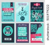 Set Of Abstract Flat Sale Card...