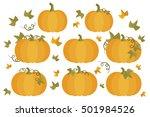 yellow whole autumn pumpkins | Shutterstock .eps vector #501984526
