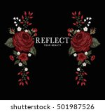 flower embroidery for t shirt | Shutterstock .eps vector #501987526