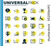 set of 25 universal editable... | Shutterstock .eps vector #502006492