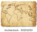 vector of world map on old paper   Shutterstock .eps vector #50201053