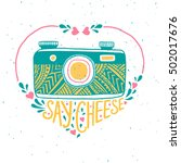 retro photo camera. hand drawn...   Shutterstock .eps vector #502017676
