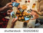 friends capturing burgers and... | Shutterstock . vector #502020832