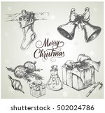 hand drawn christmas set | Shutterstock .eps vector #502024786