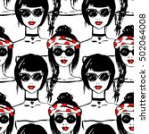 fashion girl seamless pattern.... | Shutterstock .eps vector #502064008