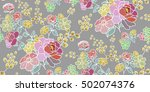 seamless floral pattern in... | Shutterstock .eps vector #502074376